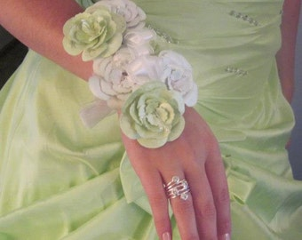 Lime Green Corsage and Bootineer