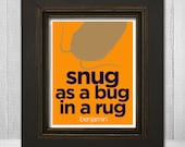 Kids Humorous Wall Print 8x10 - Personalized Childrens Art Print - Snug As a Bug In a Rug - Custom Color & Name