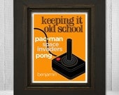 Personalized Atari Boys Room Art 8x10 - Kids Atari Print - Keeping It Old School - Choose Background Color & Name
