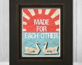 Personalized Bride & Groom Names Print 8x10 - Custom Couple Names Art - Made for Each Other Origami Swan Print