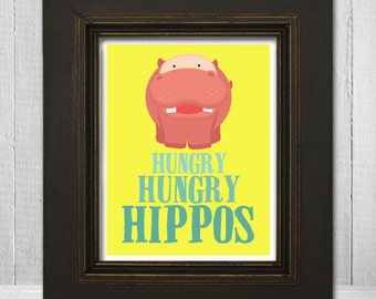 Childrens Custom 11 x 14 Art Print, Hungry Hungry Hippo, Animal Wall Art, Nursery Art, Baby Nursery Print