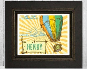 Custom 8x10 Childrens Wall Art Hot Air Balloon Personalized Print