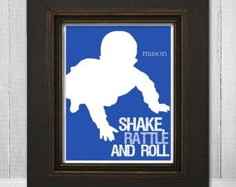 "Custom 8x10 Nursery Wall Art ""Shake Rattle & Roll"" Baby Silhouette Print"