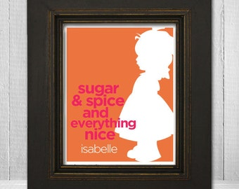 "8x10 Custom Nursery Wall Art ""Sugar and Spice and Everything Nice"" Little Girl Print, Personalized GIrl's Nursery Print"