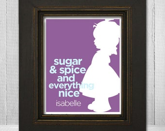 "Custom Nursery Wall Art  11x14 ""Sugar and Spice and Everything Nice"" Little Girl Print, Personalized Girl's Nursery Print"
