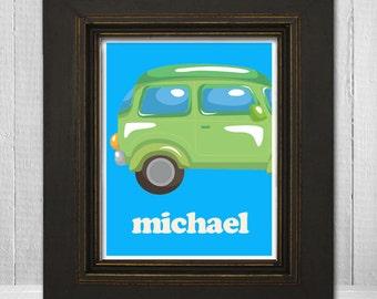 Personalized Boys Room 8x10 Print  - Kids Car Wall Art - Custom Boys Print - Car Theme Print - Choose Your Background Color