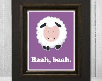 Custom Kids Print 8x10 - Cute Animal Nursery Print - Kids Sheep Print - Baah Baah - Choose Your Background Color