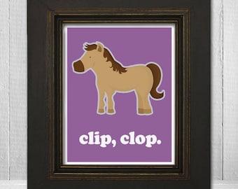 Kids Horse Print 11x14 - Horse Theme Nursery Print - Custom Baby Print - Clip Clop - Choose Your Background Color