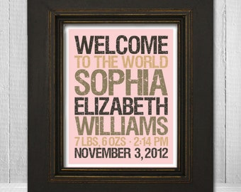 Personalized Baby Name Print 8x10 - Welcome Baby Nursery Print - Custom Baby Shower Print - Custom Background Color & Text