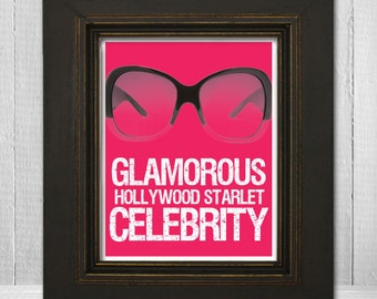 Celebrity Wall Print 8x10 - Humorous Wall Art - Funny Sunglasses Print -Glamorous Hollywood Starlet Celebrity - Choose Your Background Color