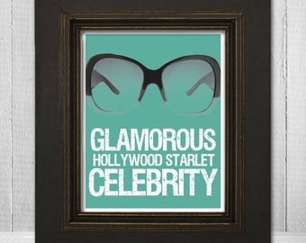 Celebrity Wall Print 11x14 - Humorous Wall Art - Funny Sunglasses Print-Glamorous Hollywood Starlet Celebrity - Choose Your Background Color