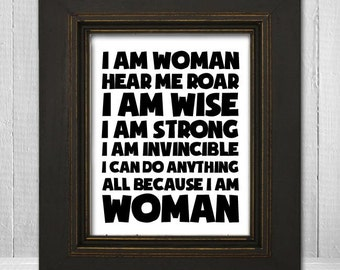 Inspirational Women's Typography Print 11x14 - I Am Woman Art Print - White Background Choose Text Color