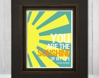 Inspirational Art Print 11x14 - Stevie Wonder Lyrics - You Are The Sunshine of My Life Lyrics