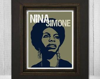 Nina Simone Print 8x10 - Musician Print - Music Legend Print - Music Poster - Vintage Music Art Print