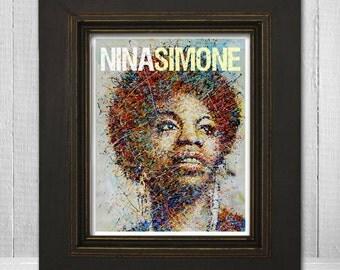 Nina Simone Print 11x14 - Musical Print - Music Legend Print - Retro Music Poster - Music Artwork