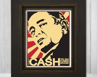 Johnny Cash Print 8x10 - Music Print - Country Legend Print - Music Poster - Vintage Music Poster