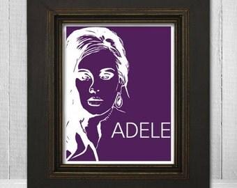 Adele Print 8x10 - Music Print - Music Art Print - Music Poster - Pop Music Print - Adele Poster