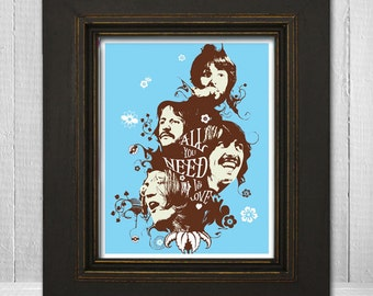 The Beatles Poster 11x14 - All You Need Is Love - Music Poster - The Fab Four - The Beatles Print