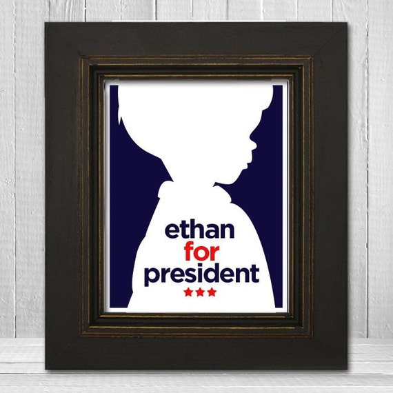 Personalized 8x10 Boys Presidential Campaign Print, Silhouette Boys Wall Art, Red White and Blue Art