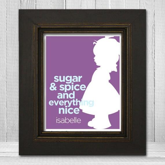 "Custom Nursery Wall Art  11x14 ""Sugar and Spice and Everything Nice"" Little Girl Print, Personalized Girl's Nursery Print"