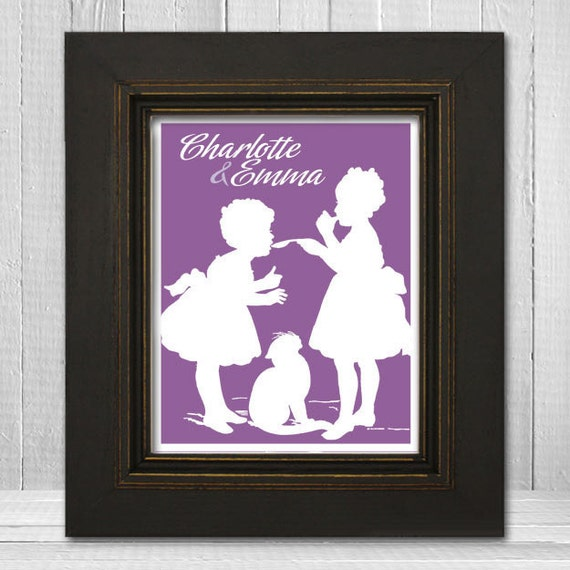 Customized 8x10 Siblings Art Print Victorian Style Sisters Wall Art
