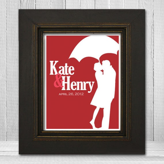 Personalized Wedding Date Print 11x14 - Custom Couples Names Print - Custom Engagement Print - Choose Background Color