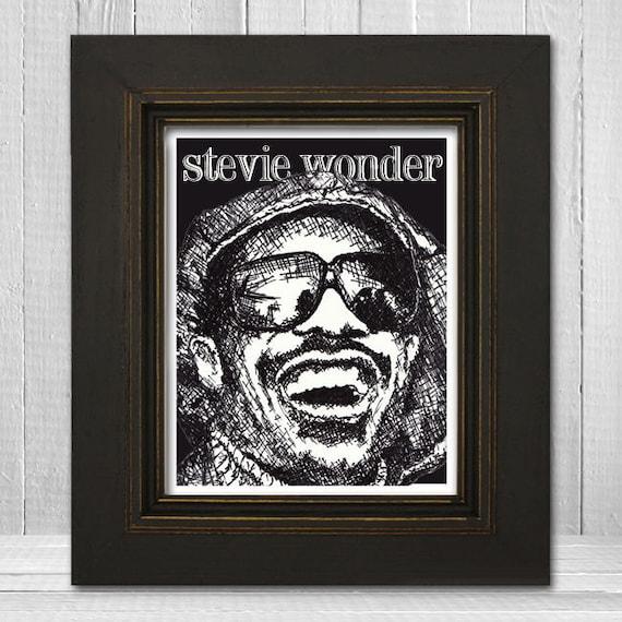 Stevie Wonder Print 11x14 - Music Print - Music Poster - Vintage Music Art Print - Soul R&B Poster