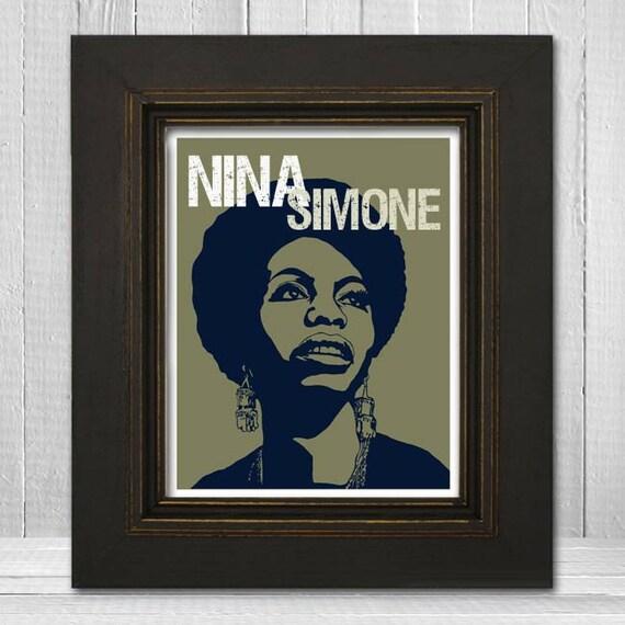 Nina Simone Print 11x14 - Musician Print - Music Legend Print - Music Poster - Vintage Music Art Print