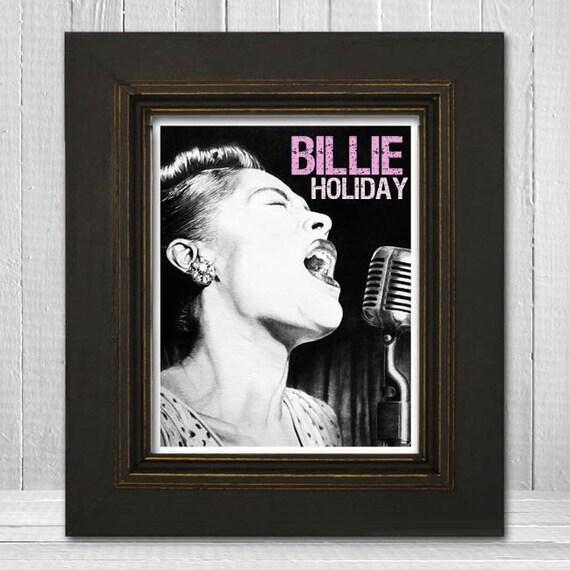 Billie Holiday Print 11x14 - Music Print - Music Art Print - Jazz Music Poster - Blues Music Print - Vintage Billie Holiday Poster