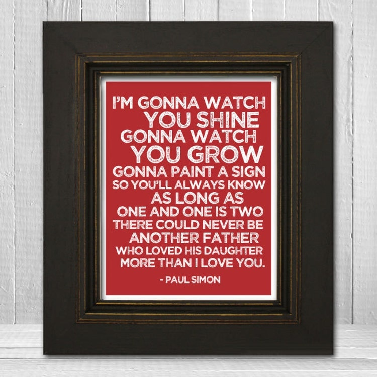 Songs About Dads And Daughters: Song Lyrics Nursery Print 11x14 Father & Daughter By