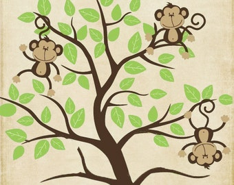 Personalized monkey baby boy or girl name decor