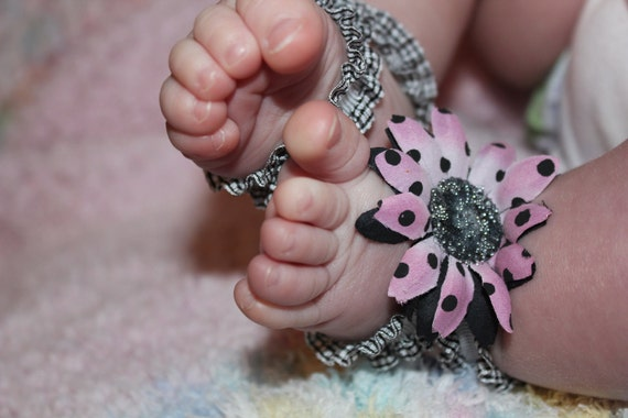 Baby Barefoot Sandals and Matching Headband
