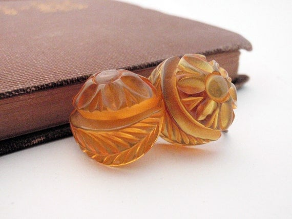Apple Juice Bakelite Carved Earrings - Transparent - Button Style - Sweet and Feminine