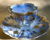 Vintage Teacup Candle Sky Blue with Gold Detail