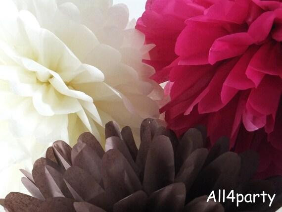 24 Tissue Paper Pom Mix