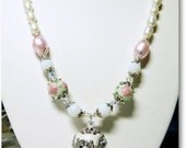 White Indonesian Focal Glass Pearls Necklace