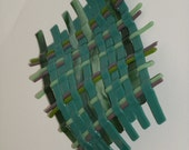 Glass wavy weave wall hanging - greens & purple highlight