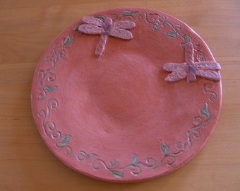 hand made dragonfly plate / ceramic dragonfly plate