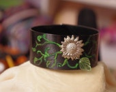 vinyl record bracelet - sunflower vines
