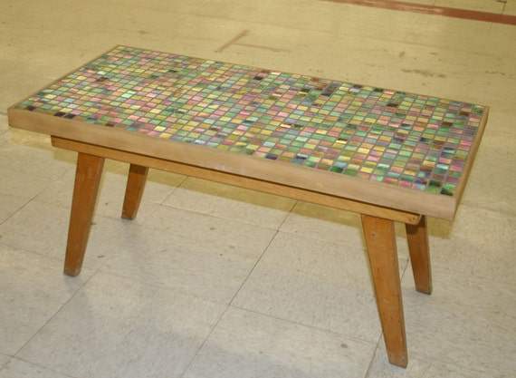 Mid Century Modern Blonde Coffee Table with updated tile top