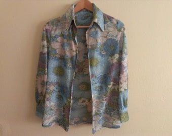 70s vintage seventies women floral glittery open shirt