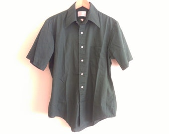60s vintage men green short sleeved shirt sixties large