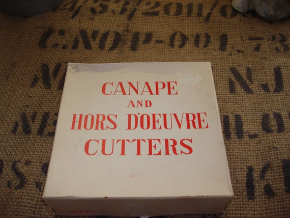 Canape and Hors D'oeuvre Cutters Complete set of 12 Metal Cookie Pattern Cutters w/ Tin and Box