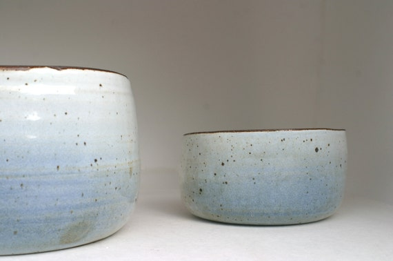 Nested Buckets in Brown Clay with a Blue Splash of Color on Glossy White Glaze