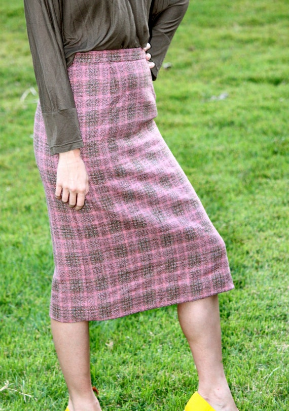 1950s Pink Plaid Pencil Skirt
