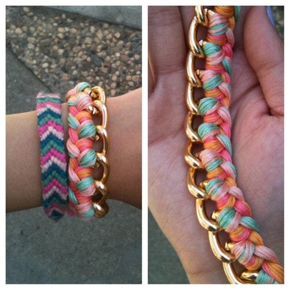 Woven Gold Chain Bracelet- Mint Swirl