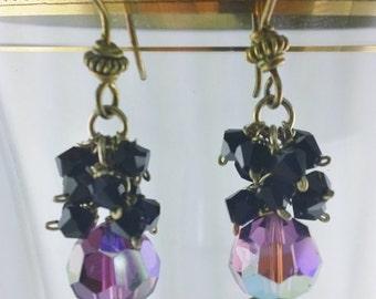 Amethyst and Black Swarovski Crystal Earrings