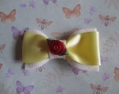 Hair Bow, Red Rose, Yellow Ribbon, Cream Felt, Barrette, Slide, Vintage Style, Kitsch, Floral