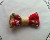 Hair Bow, Red, Cream, Floral, Felt, Fabric, Kitsch, Vintage Style, Cute 1950's
