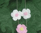 Crocheted flower and button backed necklace (white and pink)